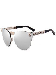 Skull Insert Butterfly Mirror Sunglasses - Silver