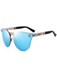 Skull Insert Butterfly Mirror Sunglasses - Blue