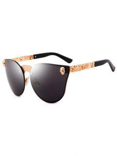Skull Insert Butterfly Mirror Sunglasses - Black