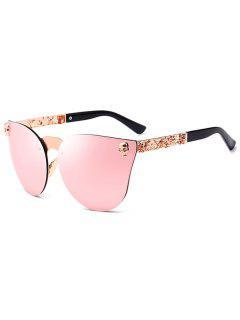 Skull Insert Butterfly Mirror Sunglasses - Pink