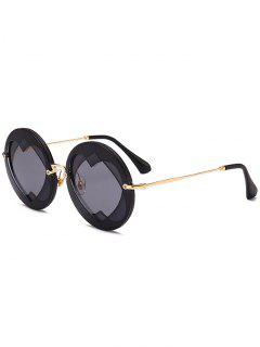 Double Reverse Heart Round Sunglasses - Black