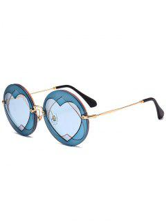 Double Reverse Heart Round Sunglasses - Blue