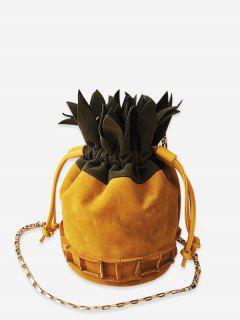 Color Block Pineapple Shape Drawstring Crossbody Bag - Yellow