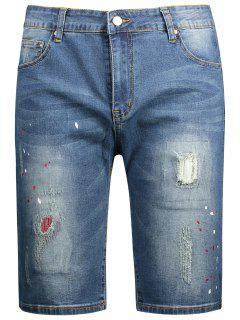 Ripped Bermuda Denim Shorts - Denim Blue 34