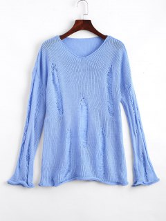 Rolled Cuff Ripped V Neck Sweater - Light Blue