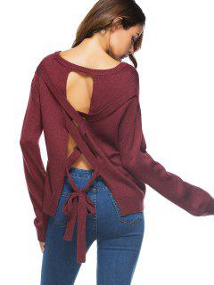 Recortar Lace Up Sweater - Vino Rojo