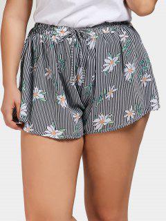 Floral Striped Plus Size Shorts - Stripe 3xl