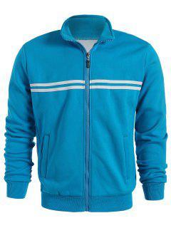 Flocking Striped Jacket - Blue M