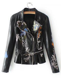 Belted Embroidered Biker Jacket - Black M