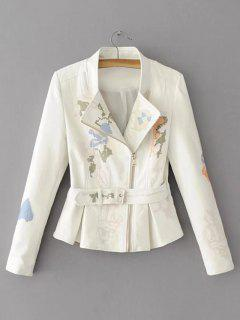 Belted Embroidered Biker Jacket - White L