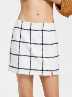 Slit Checked Mini Skirt - White M
