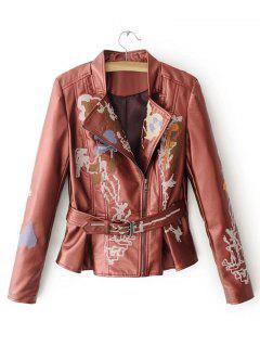 Belted Embroidered Biker Jacket - Red M