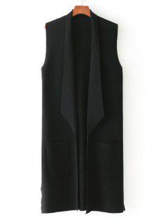 Side Slit Knitted Open Front Waistcoat - Black
