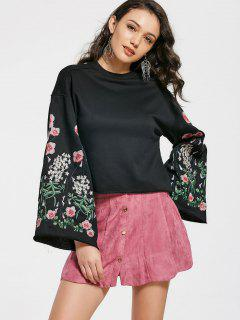 Crew Neck Flower Embroidery Sweatshirt - Black M
