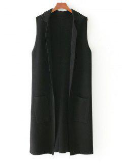 Side Slit Knitting Open Front Waistcoat - Black