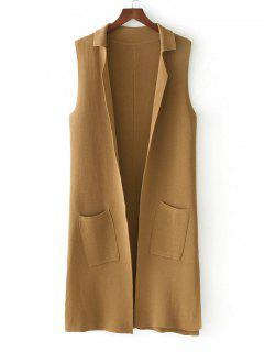 Side Slit Knitting Open Front Waistcoat - Khaki