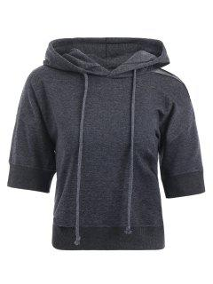 Drop Shoulder Ripped Cropped Hoodie - Deep Gray S
