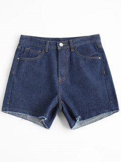 High Waisted Cutoffs Jean Shorts - Denim Blue L