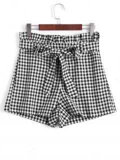 Checked Bowknot High Waisted Shorts - Checked L