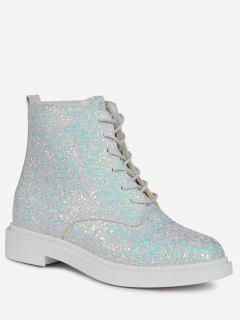 Lace Up Glitter Short Boots - White 37