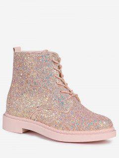 Lace Up Glitter Short Boots - Pink 38