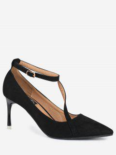 Pointed Toe Ankle Strap Mini Heel Pumps - Black 38