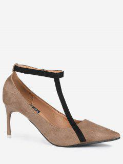 Pointed Toe Ankle Strap Mini Heel Pumps - Brown 38