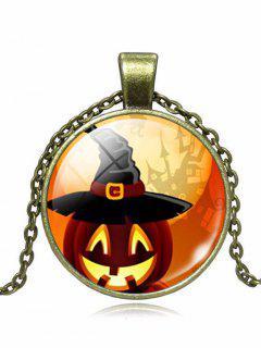 Halloween Wizard Hat Pumpkin Pendant Necklace - Bronze