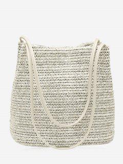 Bucket Straw Shoulder Bag - Off-white