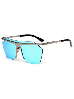 Metallic Semi Rimless Mirror Pilot Sunglasses - Ice Blue