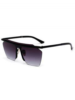 Metallic Semi Rimless Mirror Pilot Sunglasses - Black