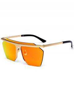 Metallic Semi Rimless Mirror Pilot Sunglasses - Orange