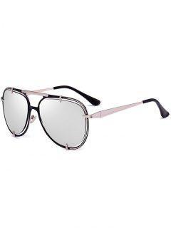 Metallic Insert Mirror Pilot Sunglasses - Silver