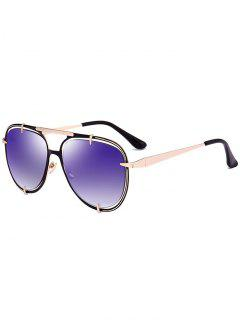 Metallic Insert Mirror Pilot Sunglasses - Golden