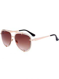 Metallic Insert Mirror Pilot Sunglasses - Brown