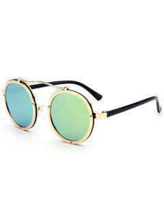 Double Rims Metallic Round Mirror Sunglasses - Green
