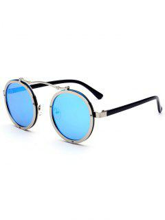 Double Rims Metallic Round Mirror Sunglasses - Ice Blue