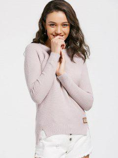 Pull Fendu Patché Badge - Pale Rose Gris