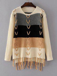 Color Block Criss Cross Fringed Sweater - Apricot