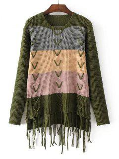 Color Block Criss Cross Fringed Sweater - Green