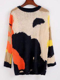 Contrasting Loose Ripped Sweater - Multicolor