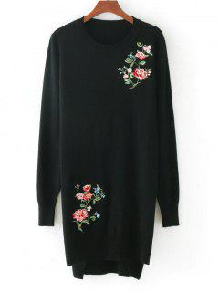 High Low Floral Embroidered Sweater - Black