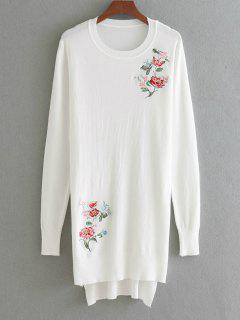High Low Floral Embroidered Sweater - White
