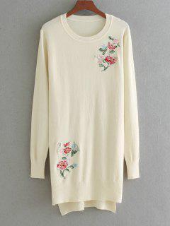 Hoch Niedrige Floral Gestickte Pullover - Beige (weis)