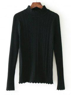 Scalloped Mock Neck Sweater - Black