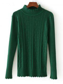 Scalloped Mock Neck Sweater - Green