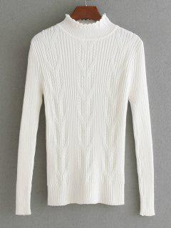 Scalloped Cable Knit Panel Sweater - White