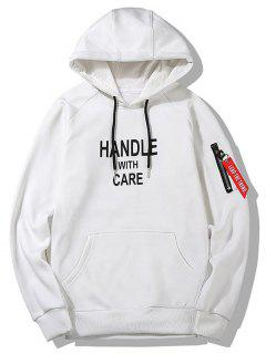 Flocking Handle With Care Graphic Hoodie - White 2xl