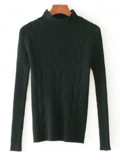 Scalloped Cable Knit Panel Sweater - Black