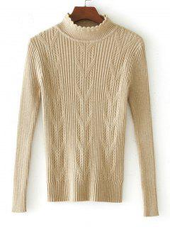 Scalloped Cable Knit Panel Sweater - Apricot